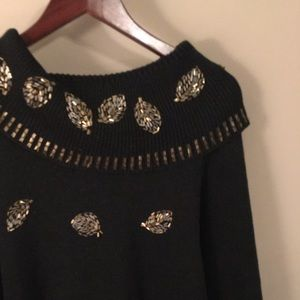 Black Cowl Neck Sweater with Gold Leaf Beading